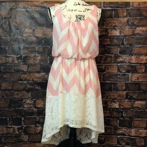Euc high low chevron print dress